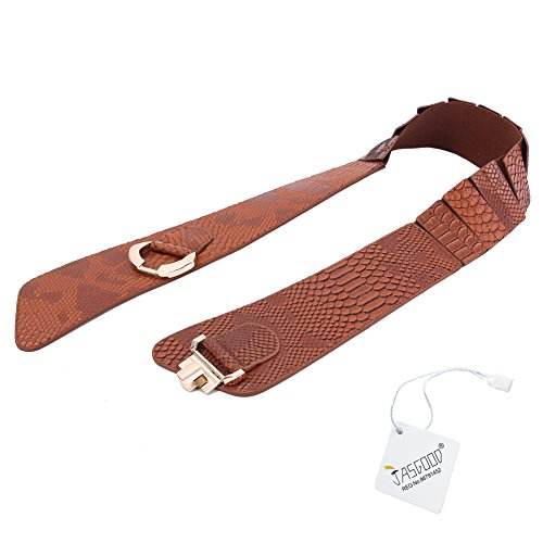 JasGood Women's Fashion Snake Pattern Wide Elastic Stretch Adjustable Waist Cinch Belt Waistband  Brown  Suit Waist 29-32 Inch