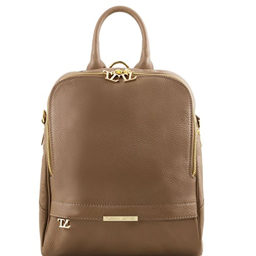 Tuscany Leather TL Bag Soft leather backpack for women Dark Taupe Leather Backpacks by Tuscany Leather