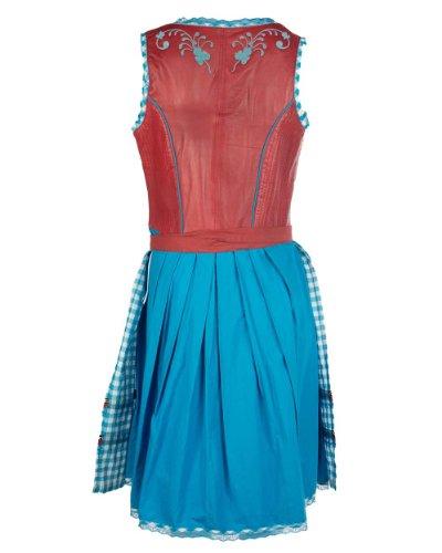 MAZE Dirndl Anne Dirndl, Lammleder, Stickerei, tailliert, rot, blau, weiss, XS-XL