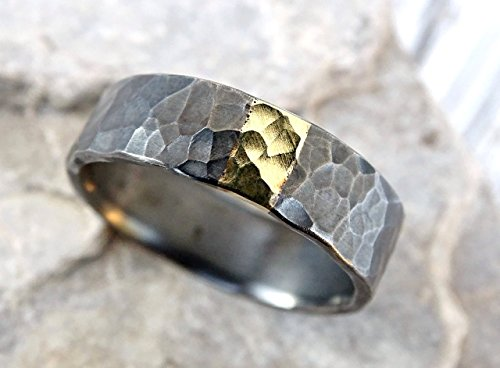 (mens wedding band mixed metal, unique mens ring silver and gold promise ring, viking wedding ring hammered, cool wedding ring recycled metal)