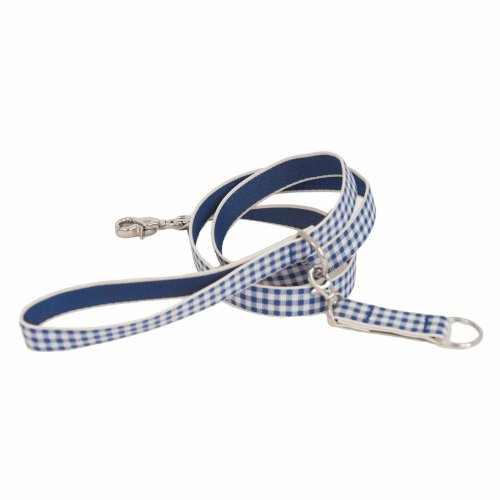 Harry Barker Blue Gingham Dog Leash, 3/4-Inch by 4-Feet