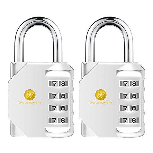 Keyless Padlocks (Combination Lock, Pack of 2 Heavy Duty 4 Digit Anti Rust Weather-Proof Key Less Padlock Metal & Plated Steel Combination Lock for Home, School Gym Locker, Fence, Toolbox, Cabinet)