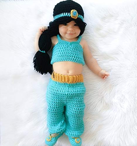 Princess Jasmine Inspired Costume/Crochet Princess Jasmine Wig/Princess Costume/Princess Photo Prop Newborn to 12 Month Size for $<!--$58.00-->