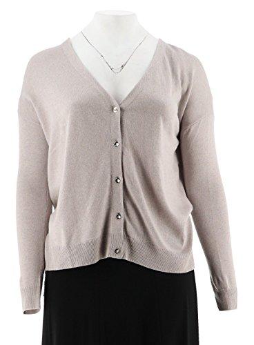 - Halston Silk-Cashmere Blend Button Cardigan A272364, HTHR Flint Grey, XL