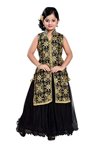 Aarika Girl's Black Self Design Party Wear Gown (G-2010-BLACK_34_12-13 Years) by Aarika