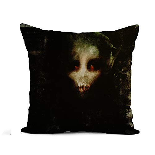 Awowee Flax Throw Pillow Cover Monster Horror Scary