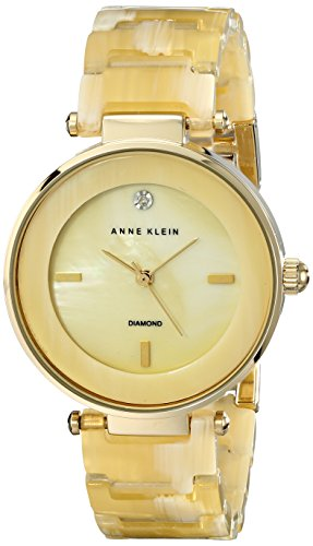 Horn Link Bracelet Watch - Anne Klein Women's AK/1838CMHN Diamond-Accented Horn Resin Bracelet Watch