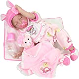 """Pink Lifelike Reborn Baby Doll 9-Piece Gift Set Handmade 22"""" Silicone Weighted Realistic Sleeping Baby Interactive Birthday&Xmas Gift"""
