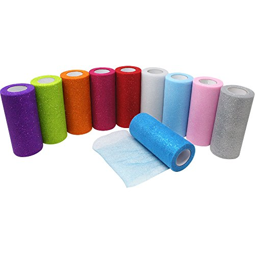 Just Artifacts 10pc Assorted Glitter Tulle Fabric Roll 25yrd Length x 6in (Homemade Magenta Costume)