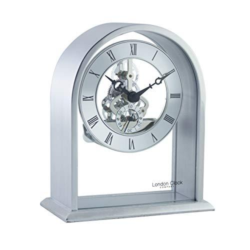 - 14cm Silver Arch Top Skeleton Mantel Clock