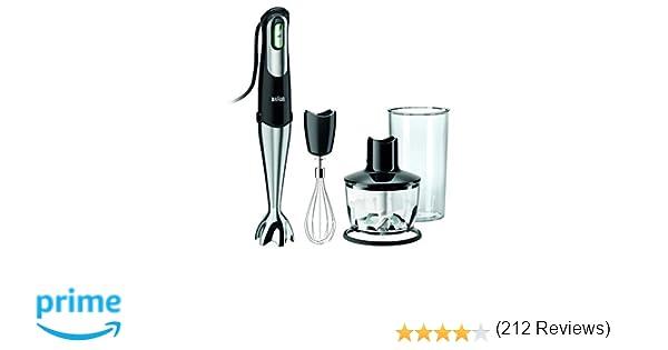 Braun Minipimer 7 MQ735 Sauce - Batidora de mano, 750 W, accesorio picadora, varillas, vaso medidor 0.6 l, negro y plata