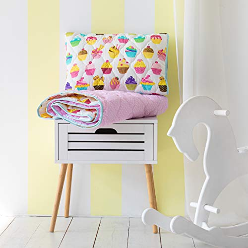 Cotton Bunny Toddler Comforter & Quilted Sham - Premium 100% Cotton (Cupcakes)