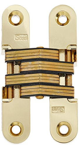 SOSS 212 Zinc Invisible Hinge with Holes for Wood or Metal Applications, Mortise Mounting, Bright Brass Exterior Finish