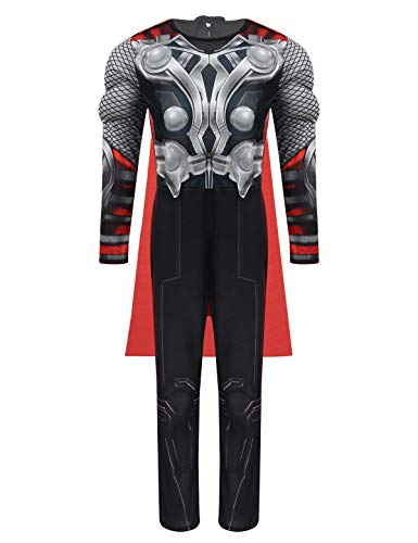Freebily Boys Official Thor Avengers Classic Muscle Costume 3D Digital Printed Unitard Halloween Cosplay Party with Cape Set Black&Grey 7-8]()