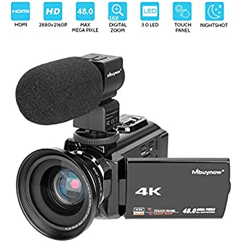 """4K Camcorder, Mbuynow Video Camera 48MP 30FPS Ultra HD WiFi Digital Camera IR Night Vision 3.0"""" Touch Screen Video Camera Camcorder with External Microphone, Wide Angle Lens, DV Bag"""