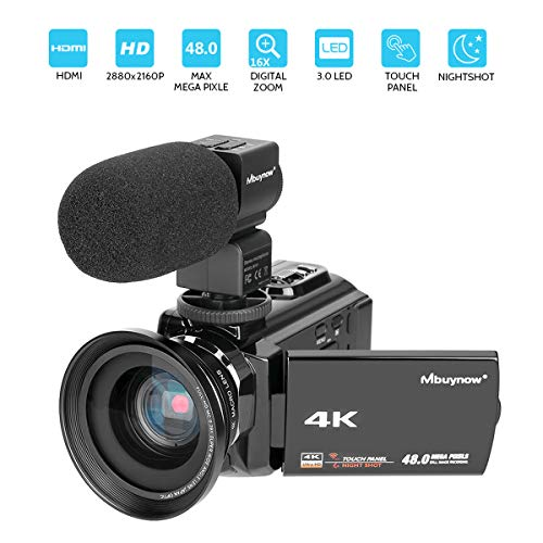 4K Camcorder, Mbuynow Video Camera 48MP 30FPS Ultra HD WiFi Digital Camera IR Night Vision 3.0″ Touch Screen Video Camera Camcorder with External Microphone, Wide Angle Lens, DV Bag