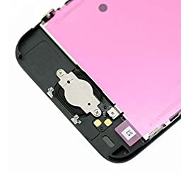 cellphoneage for iPhone 5C Black Full Set with Spare Parts LCD Screen Replacement Digitizer with Home Button, Bracket, Flex, Sensor, Front Camera, Frame Housing Assembly Display Touch Panel + Free Repair Tool Kits