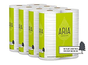 Aria Premium, Earth Friendly Mega Roll Bath Tissue Toilet Paper, 24 Count