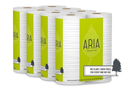 Aria Premium, Earth Friendly Toilet Paper, 24 Mega Rolls, 24 = 96 Regular Rolls, 4 Packs of 6 ()