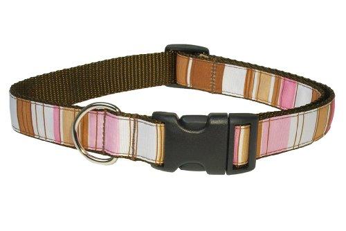 Sassy Dog Wear 13-20-Inch Brown/Multi Stripe Dog Collar, Medium