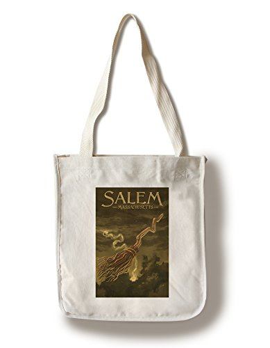 Salem, Massachusetts - Witch's Broom - Halloween Oil Painting (100% Cotton Tote Bag - - Massachusetts Shopping Salem