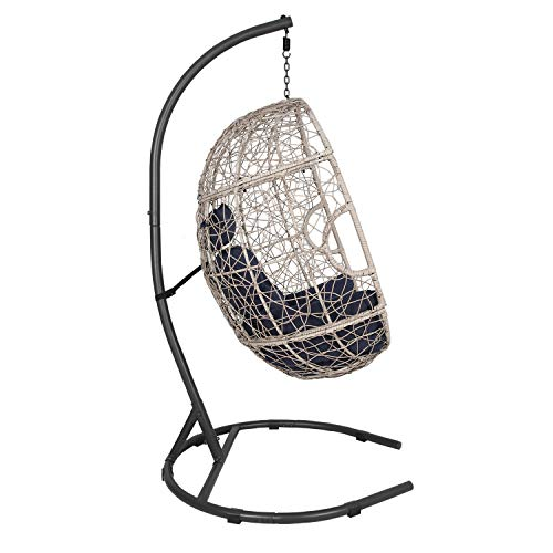 Ulax furniture Outdoor Patio Wicker Hanging Basket Swing Chair Tear Drop Egg Chair with Cushion and Stand Navy
