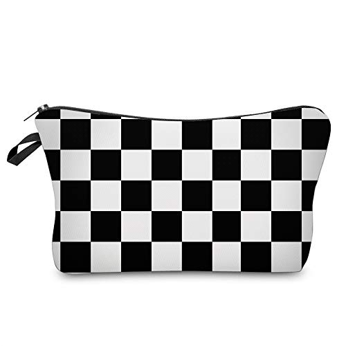 Cosmetic Bag for Women,Deanfun Black White Lattice Waterproof Makeup Bags Roomy Toiletry Pouch Travel Accessories Gifts (51782)