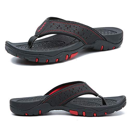 KIIU Comfortable Flip Flop Slippers for Men Casual Sandals Beach Outdoor Shoes(42,Black)