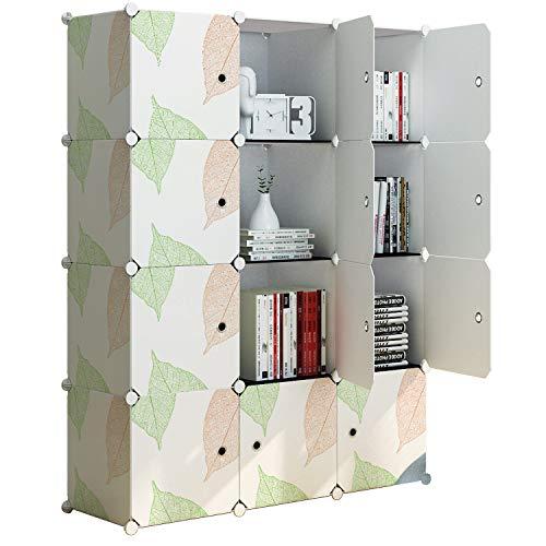 Leaf Pattern Mission (KOUSI Portable Storage Shelf Cube Shelving Bookcase Bookshelf Cubby Organizing Closet Toy Organizer Cabinet, Leaf Pattern, 12 Cubes)