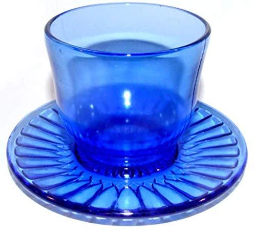 - Cobalt Depression Glass One Piece Cup & Saucer