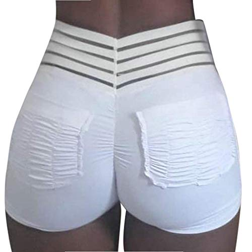 HEJANG Women's Yoga Sports Shorts Workout Athletic Sexy Slimming and Wrinkled Leggings Exercise Running Pants 2019 (L, White)