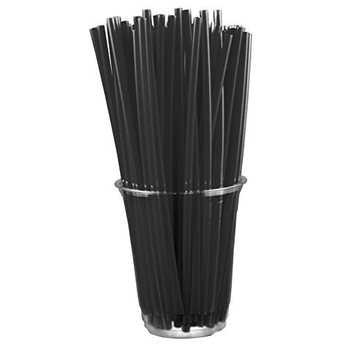 (Black Straws (250 Count) 8-Inch Plastic Drinking Straws - Unwrapped)