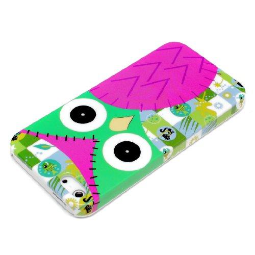 iPhone 5 5S Housse Portable Coque Poche Étui Dur Dos Hard Case Motif Hibou rose