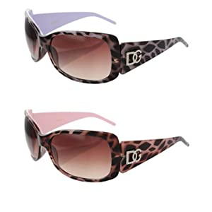 2 DG Eyewear 1 Pink & 1 Purple Animal Print Sunglasses JE533
