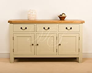 cream painted chunky rustic oak large sideboard cupboard. Black Bedroom Furniture Sets. Home Design Ideas