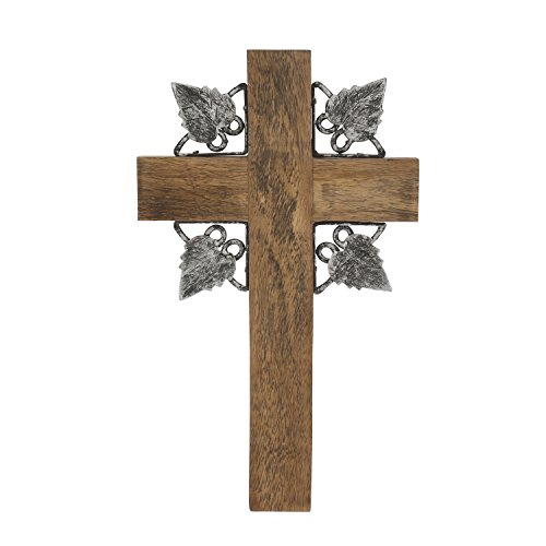 Stonebriar Faith Collection Natural Wood Wall Cross with Metal Detail, 10 INCH