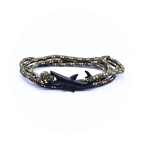 14kt Yellow Gold Mens Watch - Cyan mango Jewelry Black Ocean Shark Rope Bracelet for Women&Men Shark Bracelet Anchor Bracelet,J10