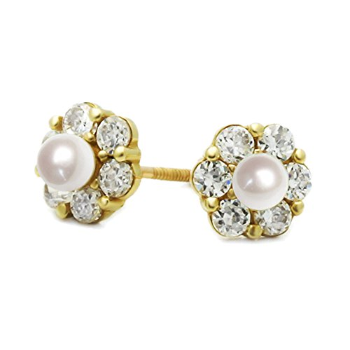 14K Yellow Gold 3mm Round Freshwater Cultured Pearl CZ Cluster Flower Screwback Stud Earrings