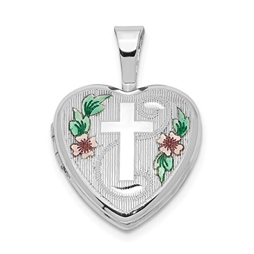 925 Sterling Silver Cross Religious Enamel Flowers 12mm Heart Photo Pendant Charm Locket Chain Necklace That Holds Pictures Fine Jewelry For Women Gift Set