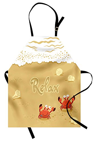 Ambesonne Crabs Apron, Funny Summer Card with Cute Crabs on The Beach Holiday Vacation Theme Print, Unisex Kitchen Bib Apron with Adjustable Neck for Cooking Baking Gardening, Sand Brown and White ()