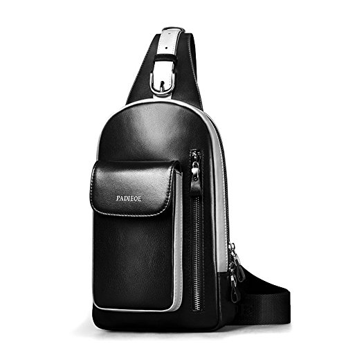 Padieoe Hombre Bolso Bandolera Originales Pecho Bolsos de Bolsas Sport Chest Bag Outdoor Casual negro