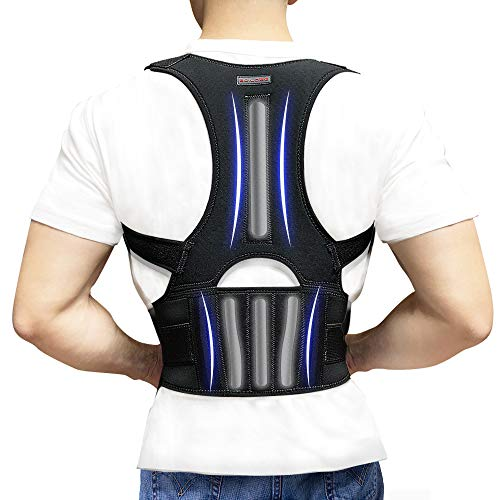 Back Brace Posture Corrector - Back Support Belt with Fully Adjustable Straps Relief Lower & Upper Back Pain, Improve Posture & Provides Lumbar Support - Fit for Men & Women L(30''-36''Waist) (Mens Back Belt)