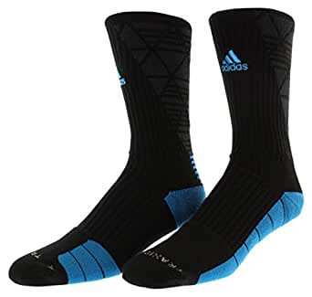 Adidas Men's Team Speed Traxion Energy Blur Crew Socks (Large, Black/blue)