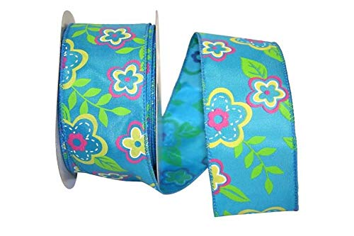 Wired Floral Fantasy Turquoise, Pink, Green and Yellow Flowers Spring Ribbon 2 1/2