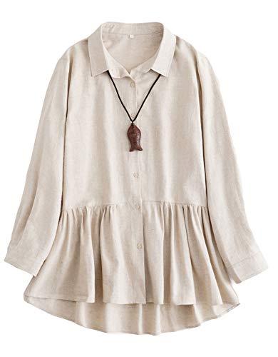 Pleated Long Sleeve Linen Shirt - 9