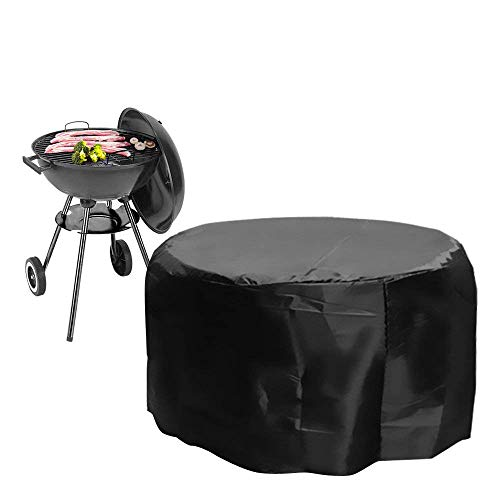 IC ICLOVER BBQ Gas Grill Cover, 30-inch Heavy Duty Waterproof BBQ Barbecue Cover, Patio Garden Round Fire Pit Cover with UV and PVC Coating Water Resistant for Weber,Brinkmann,Char Broil – [30″x23″]