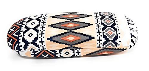- Hard Protective Clam Shell Eyeglass Case Aztec Ethnic Pattern Design Medium Size (Mocassin)