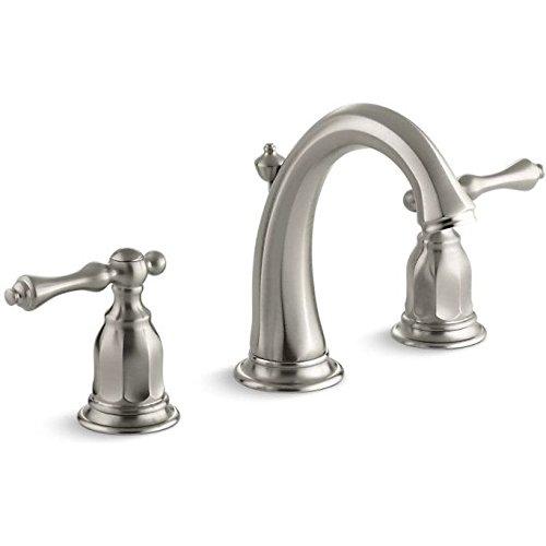 KOHLER Kelston K-13491-4-BN 2-Handle Widespread Bathroom Faucet with Metal Drain Assembly in Brushed Nickel