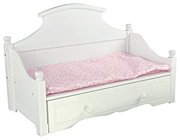 little world sweet girl white trundle bed with pink floral mettress wooden 18 inch