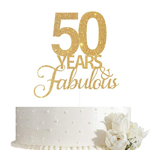50 Years Fabulous Cake Topper, 50th Birthday Cake Topper, 50th Anniversary Cake Topper with Gold Glitter